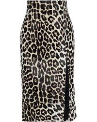 16Arlington Black Lipton Leopard-print Calf Hair Midi Skirt Animal-print Größe 4