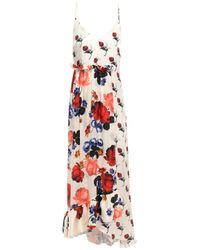 Mother Of Pearl White Wrap-effect Floral-print Silk-satin Midi Dress Ivory