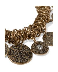 Kenneth Jay Lane - Metallic Crystal-embellished Burnished Gold-tone Charm Bracelet - Lyst