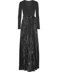 Diane von Furstenberg Heavyn Pleated Metallic Stretch-crepe Wrap Maxi Dress Black
