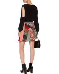 Roberto Cavalli Red Printed Silk Mini Skirt