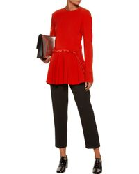 Stella McCartney Red Patrizia Fringed Satin-trimmed Pleated Crepe Top