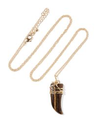 Kenneth Jay Lane - Brown Gold-tone Stone Necklace - Lyst