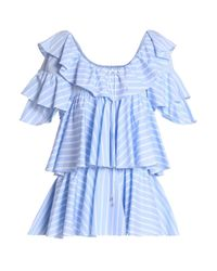 TOME Woman Ruffled Striped Cotton-poplin Tunic Sky Blue
