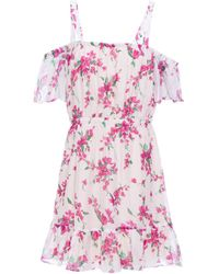Rachel Zoe Cold-shoulder Gathered Floral-print Chiffon Mini Dress White