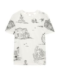 Maje Multicolor Toulouse Embroidered Cotton-jersey T-shirt Ecru