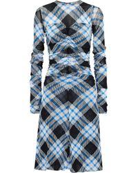Diane von Furstenberg Ruched Checked Mesh Dress Blue