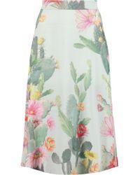 Matthew Williamson Green Floral-print Silk-crepe Midi Skirt