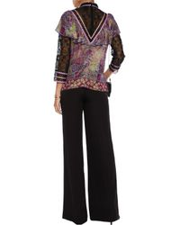 Anna Sui Purple Embroidered Tulle And Printed Silk-blend Chiffon Blouse