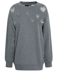 Love Moschino Distressed French Cotton-terry Sweatshirt Gray