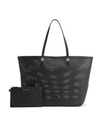 Rebecca Minkoff Black Studded Perforated Leather Tote