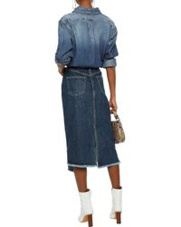 Rag & Bone Blue Sukato Asymmetric Frayed Denim Midi Skirt Dark Denim