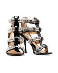 Moschino Black Pvc And Chain-trimmed Patent-leather Sandals