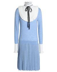 Temperley London Woman Paneled Wool-blend Dress Sky Blue