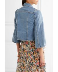 MiH Jeans Blue Arch Cropped Denim Jacket Mid Denim