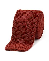 Budd Shirtmakers Red Rust Silk Knitted Tie for men