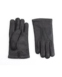 Omega Black Cashmere Lined Peccary Gloves for men