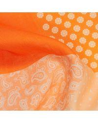 Calabrese 1924 Orange Dot-daisy-paisley Print Linen Pocket Square for men