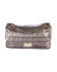 Chanel - Gray Perforated Drill Flap Bag Metallic - Lyst