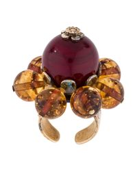 Dior - Metallic Crystal & Glass Bead Floral Cocktail Ring Gold - Lyst