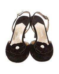 Chanel - Black Camellia Slingback Sandals - Lyst