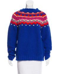 MIRA MIKATI - Blue Fair Isle Wool Sweater - Lyst