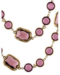 Chanel - Metallic Crystal Sautoir Necklace Gold - Lyst