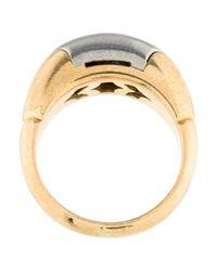 BVLGARI - Metallic Two-tone Dome Ring Yellow - Lyst