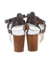 Étoile Isabel Marant - Metallic Leather Platform Wedges Black - Lyst