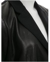 Carven - Black Wool-trimmed Leather Coat - Lyst
