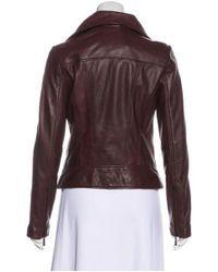 MICHAEL Michael Kors - Natural Michael Kors Lightweight Leather Jacket Burgundy - Lyst