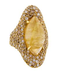 Alexis Bittar - Metallic 18k Rutilated Quartz & Diamond Cocktail Ring Yellow - Lyst