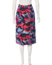 Emilio Pucci - Red Silk-blend Fil-coupé Skirt W/ Tags - Lyst