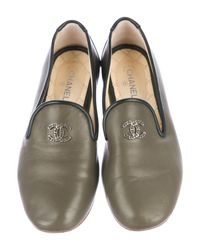 Chanel - Green Cc Leather Round-toe Flats Olive - Lyst