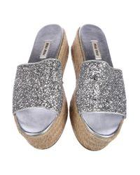 Miu Miu - Metallic Miu Glitter Flatform Espadrilles - Lyst