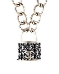 Chanel - Metallic Tweed Cc Padlock Pendant Necklace Silver - Lyst