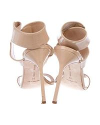 Manolo Blahnik - Natural Patent Leather High-heel Sandals Nude - Lyst