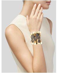 Lanvin - Metallic Crystal Leaf Cuff Gold - Lyst