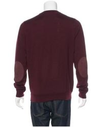 Louis Vuitton - Purple & Silk Leather-trimmed Sweater for Men - Lyst