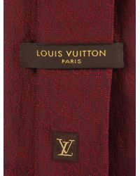 Louis Vuitton - Red Silk Jacquard Logo Tie for Men - Lyst