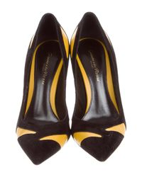 Gianvito Rossi - Yellow Bicolor Pointed-toe Pumps Black - Lyst