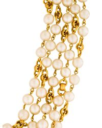 Chanel - Metallic Pearl Chain Necklace Gold - Lyst