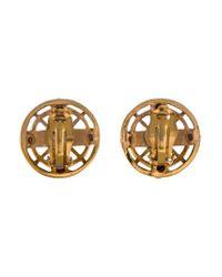 Chanel - Metallic Logo Clip-on Earrings Gold - Lyst