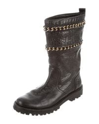 Tory Burch - Metallic Leather Mid-calf Boots Black - Lyst