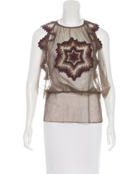 Jean Paul Gaultier - Green Embroidered Tulle Top Olive - Lyst