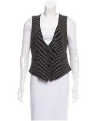 Sonia Rykiel - Natural Striped Tailored Vest Black - Lyst