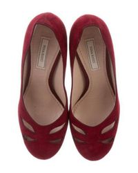 Nina Ricci - Red Suede Cutout Pumps - Lyst
