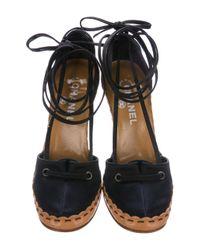 Chanel - Black Satin Wrap-around D'orsay Pumps - Lyst