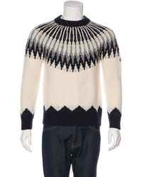 Moncler - White Wool Intarsia Knit Sweater for Men - Lyst