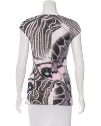 Roberto Cavalli - White Metal-embellished Abstract Print Top - Lyst